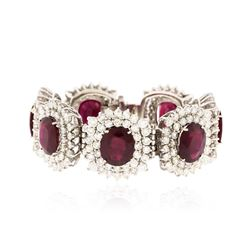 14KT White Gold 66.64ctw Ruby and Diamond Bracelet
