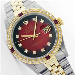 Mens Rolex Two Tone Ruby and Diamond Datejust Wristwatch
