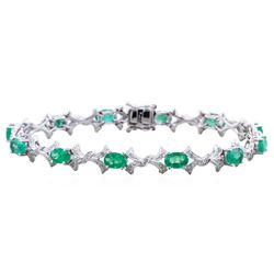14KT White Gold 5.57ct Emerald and Diamond Bracelet