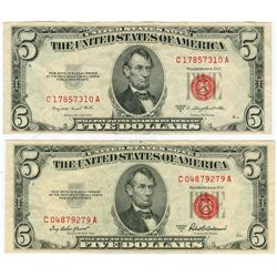 1953 $5 Red Seal Note Lot of 2
