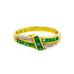 14KT Yellow Gold 0.42ctw Emerald and Diamond Ring