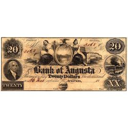 1800s $20 State of Georgia Bank of Agusta Obsolete Currency Note