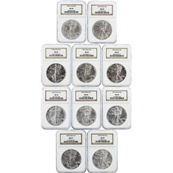 Set of (10) 1990-1999 $1 Silver Eagle Coins NGC Graded MS69