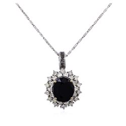 14KT White Gold 5.76ct Sapphire and Diamond Pendant With Chain