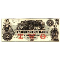 1800s $2 Farmington Bank New Hampshire Obsolete Currency Note