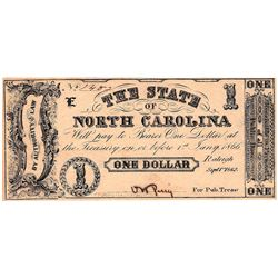 1862 $1 State of North Carolina Obsolete Currency Note