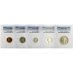Rare 1941 PCGS Graded (5) Coin Proof Set