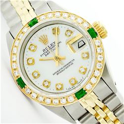 Womens Rolex Two-Tone Mother Of Pearl Diamond Datejust Wristwatch