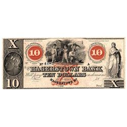 1800s $10 Hagerstown Bank Obsolete Currency Note