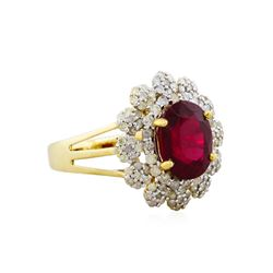 14KT Yellow Gold 3.95ct Ruby and Diamond Ring