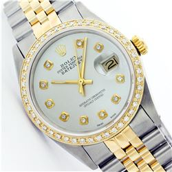 Mens Rolex Two Tone 1ctw Diamond Datejust Wristwatch