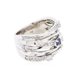 14KT White Gold 0.18ct Blue Sapphire and Diamond Ring