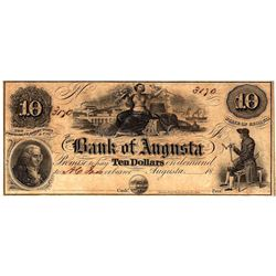 1800s $10 State of Georgia Bank of Agusta Obsolete Currency Note