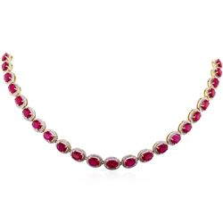 14KT Yellow Gold 36.51ctw Ruby and Diamond Necklace