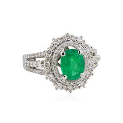 14KT White Gold 0.95ct Emerald and Diamond Ring