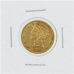1901-S $5 XF Liberty Head Gold Coin