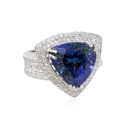 14KT White Gold GIA 8.97ct Tanzanite and Diamond Ring