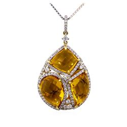 14KT Yellow Gold 14.16ctw Citrine and Diamond Pendant with Chain