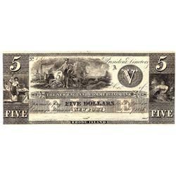 1800s $5 New England Commercial Bank Obsolete Currency Note