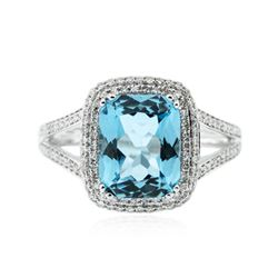 14KT White Gold 3.39ct Topaz and Diamond Ring