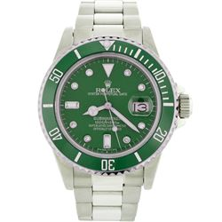 Mens Rolex Stainless Steel Date Submariner Watch with Green Diamond Dial