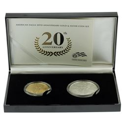 2006 W American Eagle 20th Anniversary Gold & Silver Set with COA