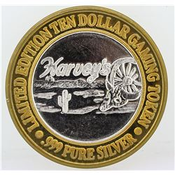 Harvey's Lake Tahoe $10 Casino Gaming Token .999 Fine Silver Limited Edition