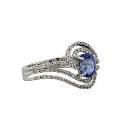 14KT White Gold 1.14ct Sapphire and Diamond Ring