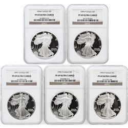 5 Coin Set 1991-1995 Silver Eagle Coins NGC PF69 Ultra Cameo