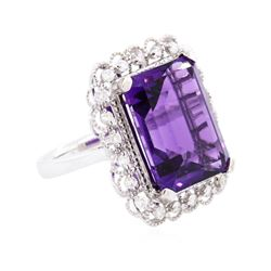 14KT White Gold 11.15ct Amethyst and Diamond Ring