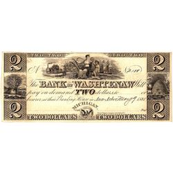 1835 $2 Bank of Washtenaw Michigan Obsolete Currency Note