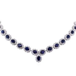 14KT White Gold 42.47ctw Sapphire and Diamond Necklace