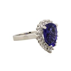 14KT White Gold 3.82ct Tanzanite and Diamond Ring