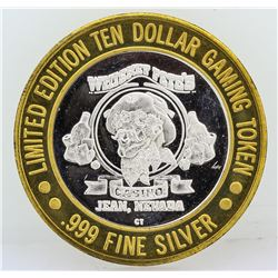 Whisky Pete's Jean $10 Casino Gaming Token .999 Fine Silver Limited Edition