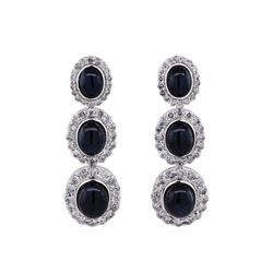 14KT White Gold 20.64ctw Star Sapphire and Diamond Dangle Earrings