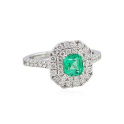 14KT White Gold 0.62ctw Emerald and Diamond Ring