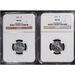 ( 2 ) 1943 STEEL LINCOLN CENTS, NGC MS-66