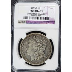 1895-S MORGAN SILVER DOLLAR, NGC FINE DETAILS  KEY DATE