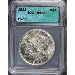 1921 PEACE SILVER DOLLAR, ICG MS-60  KEY DATE