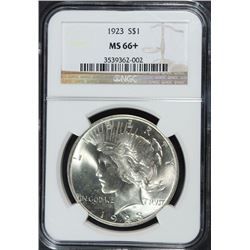 1923 PEACE SILVER DOLLAR, NGC MS-66+ SUPERB BLAST WHITE, LOOKS MS-67 TO US!