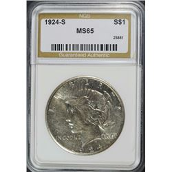 1924-S PEACE SILVER DOLLAR, NGS GRADED  CHOICE BU  KEY DATE