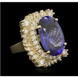 14KT Yellow Gold 22.93ct GIA Certified Tanzanite and Diamond Ring