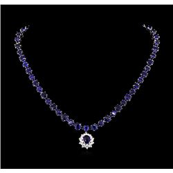 50.00ctw Blue Sapphire and Diamond Necklace - 14KT White Gold