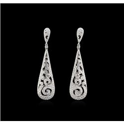 2.48ctw Diamond Dangle Earrings - 18KT White Gold