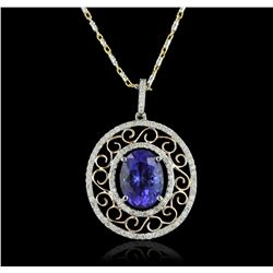 14KT Two-Tone Gold 4.32ct Tanzanite and Diamond Pendant With Chain