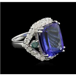 14.65ct Tanzanite and Diamond Ring - 14KT White Gold
