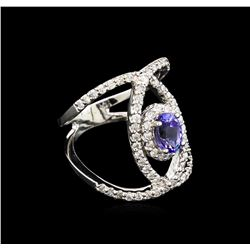 0.99ct Tanzanite and Diamond Ring - 14KT White Gold