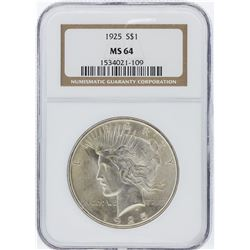 1925 NGC MS64 Peace Silver Dollar