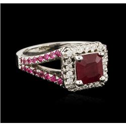 14KT White Gold 2.21ctw Ruby and Diamond Ring