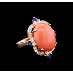 10.71ct Pink Coral, Blue Sapphire, and Diamond Ring - 14KT Rose Gold